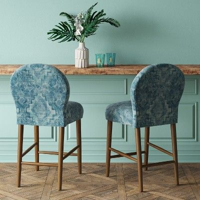 Pleasing Caracara 27 Rounded Back Counter Stool Blue Woven Design Gmtry Best Dining Table And Chair Ideas Images Gmtryco
