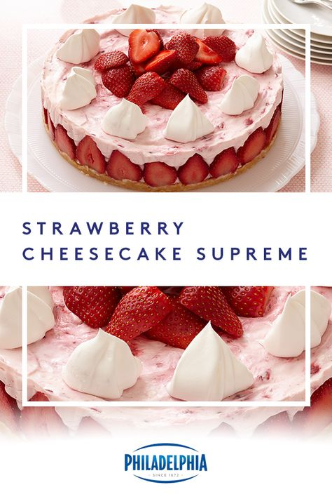 End your night on a sweet note with this refreshing strawberry no-bake cheesecake recipe. Desserts Keto, Cheesecake Desserts, No Bake Desserts, Easy Desserts, Delicious Desserts, Dessert Recipes, Baked Cheesecake Recipe, No Bake Cheesecake, Baked Strawberries