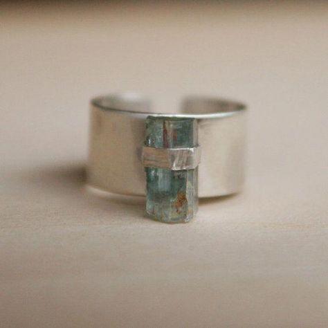 Raw Stone Ring Sterling Silver Aquamarine by RockSugarJewelry