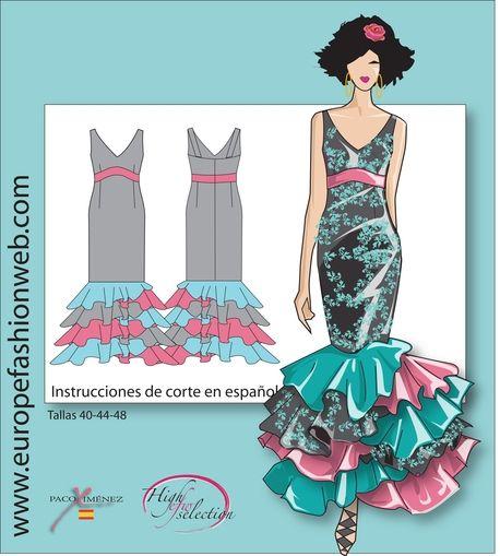 Flamenco dress with asymmetrical ruffles