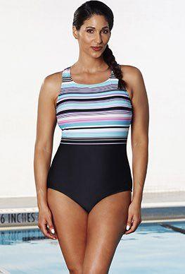 db55529e869 Chlorine Resistant - Aquabelle Dive High-Neck Swimsuit