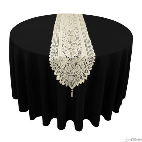 14 x 72 in. Lace Pattern Polyester Lace Table Runner Ivory at LinenTablecloth.com