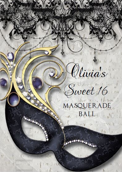 Sweet Sixteen Masquerade Party Invitation Instant Download