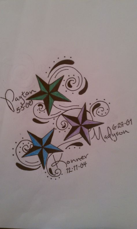 A mothers tattoo for her  kids . love this idea, been thinking of similar but with different symbols