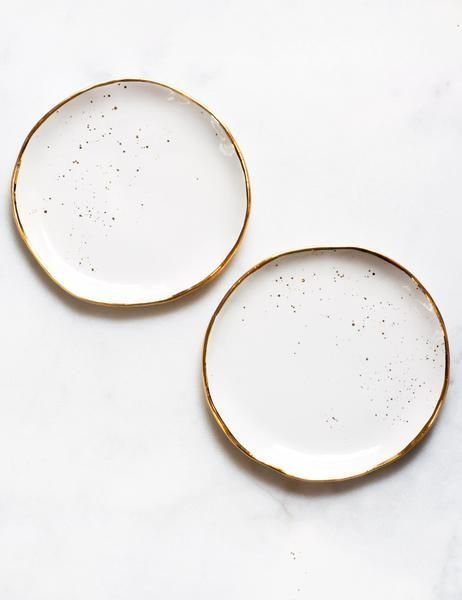 Dessert Plates In White With Gold Splatter Set Of Two Plates Tableware Plated Desserts
