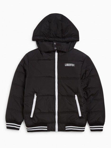 LIBERTO Manteau à Capuche Bicolore Noir | Manteau à capuche