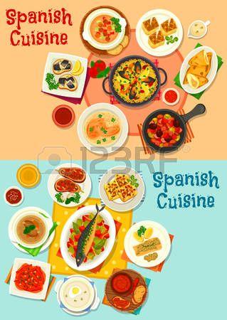 Cocina Española Icono De Menú Con Mariscos Paella Tapas De Pescado Pimiento Al Horno Sopa De Tomate Y Paella De Mariscos Cocina Española Pastel De Tortilla