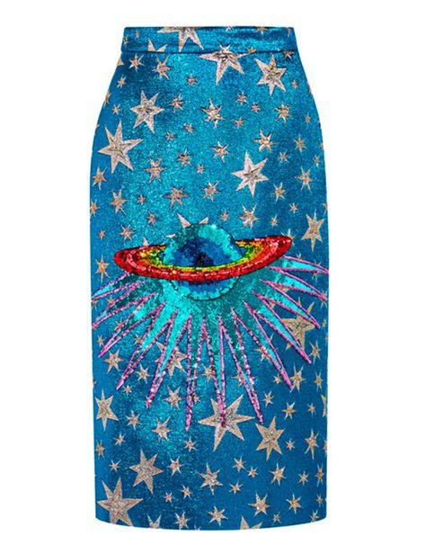 Gucci Bleistiftrock Pailletten Metallic Jacquard Midi Us Jacquard Embellished Skirt, Sequin Skirt, Galaxy Skirt, 2017 Fall Fashion Trends, Cl Fashion, Space Fashion, Skirt Fashion, Fashion Tips, Calf Length Skirts