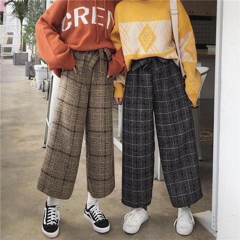 Casual plaid pants KF80035