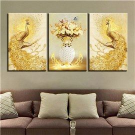 11 8 17 7in 3 Pieces Golden Peacock Hanging Canvas Waterproof And Eco Friendly Wall Prints Peacock Wall Art Drawing Room Decor Custom Wall Art