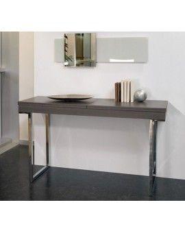 Console Extensible Avec Allonges Integrees Quattro Chrome Table Console Extensible Console Extensible Table Basse