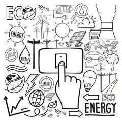 Eco And Save Energy Doodle Icon Hand Drawing Future And Friendly