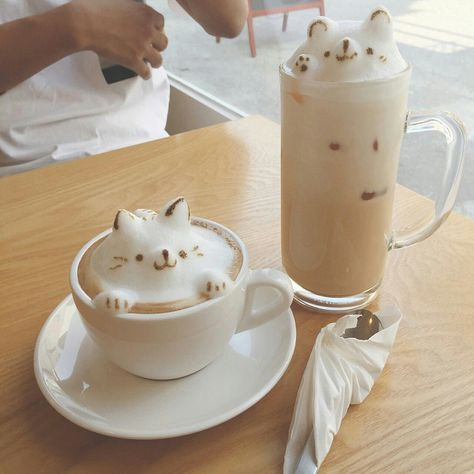 coffee and cat Coffee Latte Art, Coffee Shop, Coffee Cups, Kawaii Dessert, Japanese Snacks, Cat Cafe, Cute Desserts, Cafe Food, Mocca