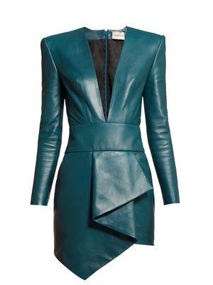 Kleidung Alexandre Vauthier Plunge Neckline Draped Leather Dress - Womens - Blue The Pearl Necklace Leather Mini Dress, Leather Dresses, Leather Jacket, Casual Chique, Look Blazer, Estilo Rock, Alexandre Vauthier, Trench Coats, The Dress