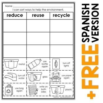 1st Grade Reduce Reuse Recycle Worksheets For Kids