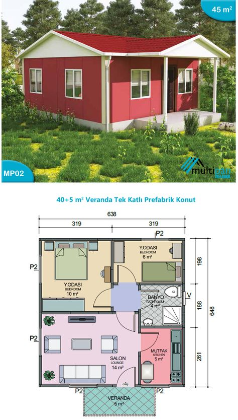MP2 40m2 + 5m2  2 Bedrooms 1 Bathroom Seperate Lounge / Kitchen Veranda  Bedroom 1 10m2 Bedroom 2 6m2 Bathroom 4m2 Kitchen 5m2 Lounge 14m2 Veranda 6m2