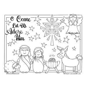 O Come Let Us Adore Him Coloring Pages Christmas Coloring Pages Christmas Colors