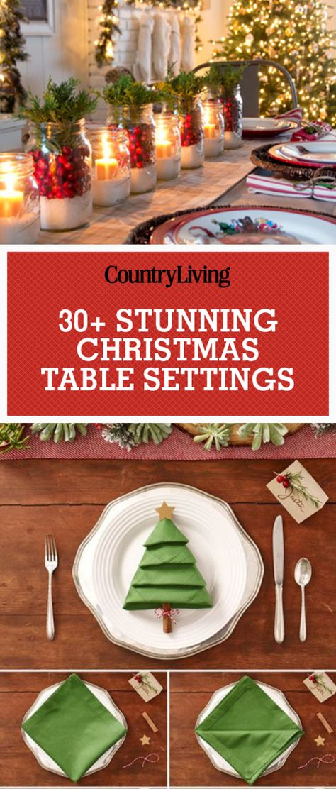 Add a special touch to make your holiday table sparkle with these beautiful Christmas table settings & centerpieces. Fold up festive Christmas tree napkins to give your plate some Christmas style! Add mason jars in a row to your dining room table topped