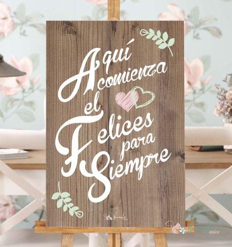 """Cartel de Madera""""Aqui comienza el felices para siempre"""". Cartel para bodas. Wood advert for weddings"""