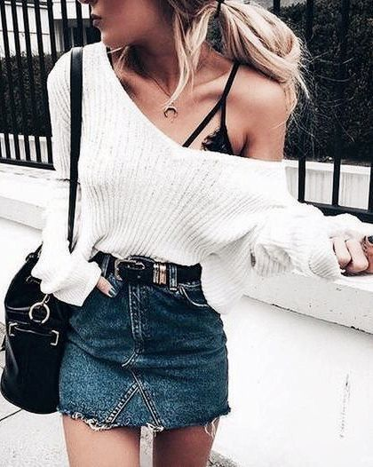 Sweater Weather - Fresh Ways To Breathe Life Into Your Old Denim Skirt - Photos
