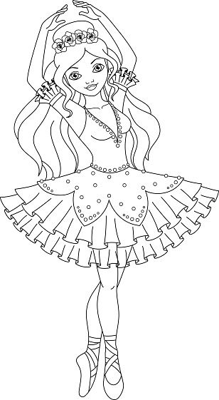 Beautiful Princess Ballerina Dancing In A Dress Ballerina Coloring Pages Barbie Coloring Pages Princess Coloring Pages