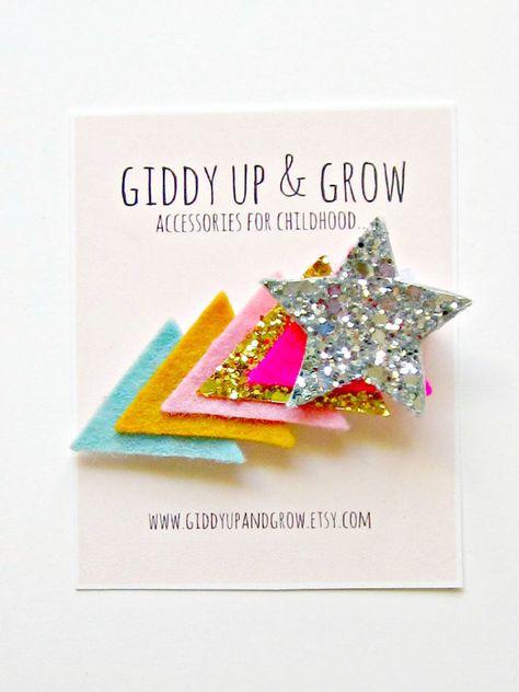 Felt Hair Clip  Glitter Hair Clip Shooting Star by giddyupandgrow, $14.00