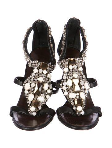 Embellished Leather Sandals | Leather sandals, Sandals
