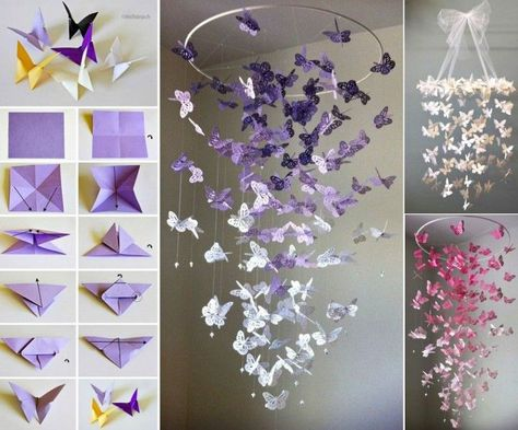 """<input class=""""jpibfi"""" type=""""hidden"""" >I fall in love with this stunning Butterfly Chandelier Mobile. It is very cute, sweet and would make a nice handmade gift , perfect for any room including your Nursery or little girl's room. Butterfly Chandelier via 'Etsy'Butterfly Chandelier Mobile Tutorial via'Megity's Handmade' Felt butterfly mobile via Bugs and via Fishesbugsandfishes, Click HERE for the…"""