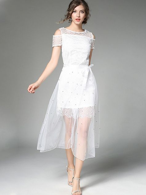 26540dcd599d Flash Sale Off Shouldr Two-Piece Lace Stitching Tulle Beading Dresses