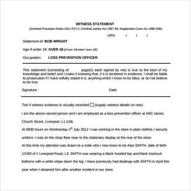 Witness Statement Template Format With Images Statement