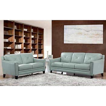 Atmore 2 Piece Top Grain Leather Set Sofa Loveseat In 2020 Love Seat Leather Sofa And Loveseat Top Grain Leather Sofa