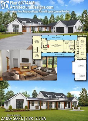 Plan 69714am Marvelous New American House Plan With Large Covered Porches House Plans Farmhouse American Houses House Plans