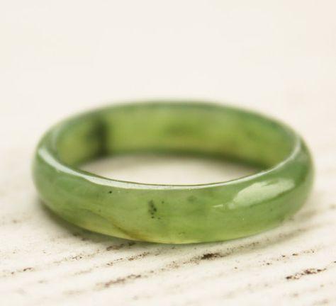 Jade Band Ring  Nephrite Jade  Thin Band by jadepeony on Etsy, $39.00
