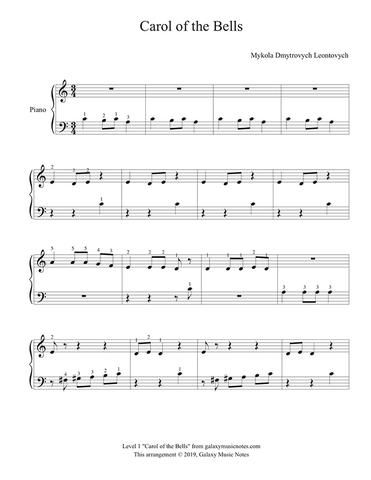 Carol Of The Bells Level 1 Piano Sheet Music With Images