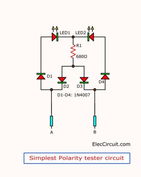 3 Idea Polarity Car Electrical Probe Tester Circuit Eleccircuit Com In 2020 Electrical Circuit Diagram Electronic Schematics Electronic Circuit Projects