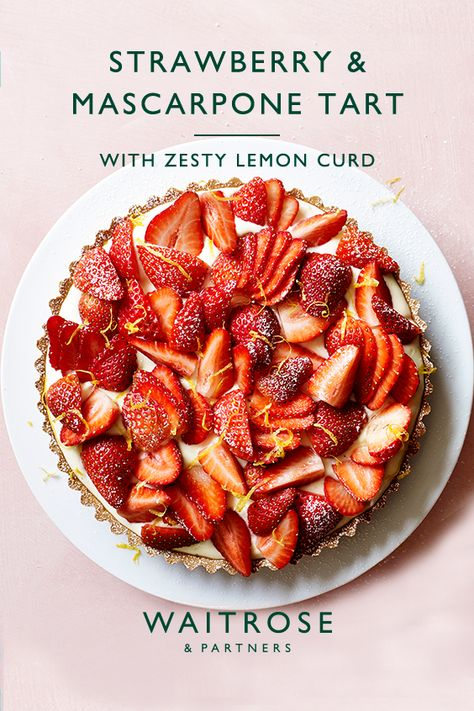 Eat the season with our zesty strawberry, lemon curd and mascarpone tart. Whip up for friends this weekend in 15 minutes.   Tap for the full Waitrose  Partners recipe.