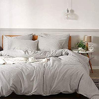 Jellymoni 100 Natural Cotton 3pcs Striped Duvet Cover Sets White Duvet Cover With Grey Stripes Pattern P Striped Duvet Covers Striped Duvet White Duvet Covers