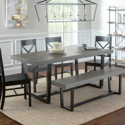 Distressed Gray Solid Wood 72 Dining Table Farmhouse Dining Set Black Dining Set Farmhouse Dining