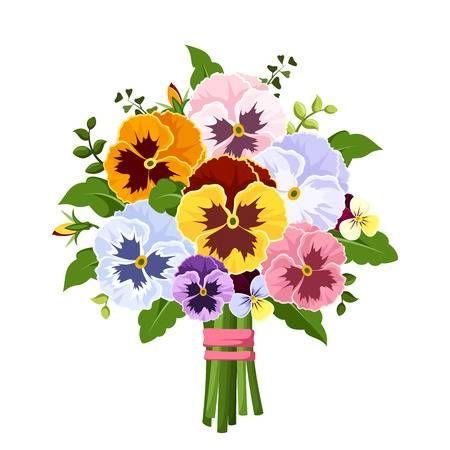 Stock Vector Pansies Flower Art Illustration