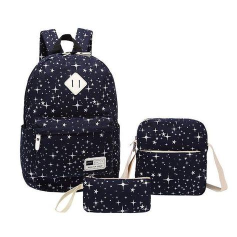 aed6edb32aec 3 pcs vintage school bags for girls kids bag canvas backpack women bagpack  children backpacks dot shoulder bags pencil case