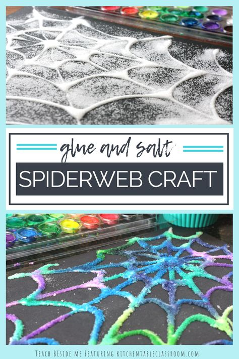 Glue and Salt Spiderweb Craft Glue and Salt Spiderweb craft to go with Eric Carles Very Busy Spider Book- fun Halloween craft too! via Karyn @ Teach Beside Me The post Glue and Salt Spiderweb Craft appeared first on Halloween Crafts. Halloween Tags, Halloween Designs, Fall Crafts For Kids, Halloween Crafts For Kids, Toddler Crafts, Halloween Themes, Preschool Crafts, Projects For Kids, Art For Kids