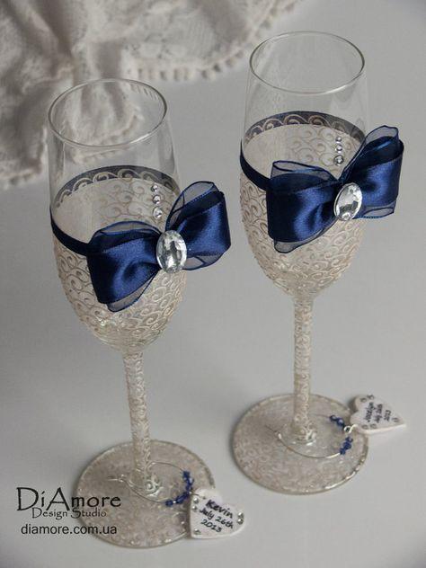 Champagne Flutes Wedding Wedding Toasting Glasses Navy Blue