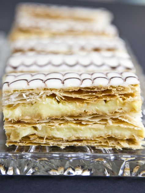 These are Custard slices where I come from. Neopoleons made with premade pastry dough- so easy!
