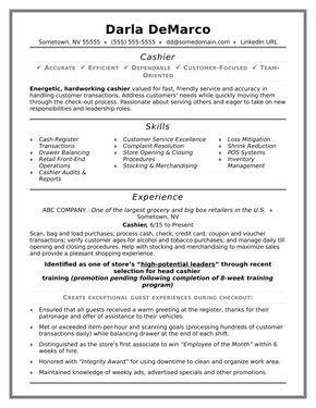 Cashier Resume Sample Resume Sample Resume