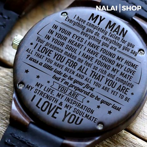 Is your gift ready for your anniversary or your husband's special day? What could be that perfect gift that is both functional and memorable? Giving gifts to our partner, especially our husbands, can be a tough one. They wanted something they could use yet reminds them of us. Look no more for we have the perfect item – the My Man - My Soulmate - Wood Watch.  Makes for the perfect gift and is 50% OFF !
