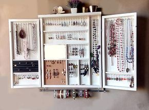 This Is A Jewelry Organizer Cabinet Designed And Crafted By Me Functional With An Artistic Flare Is M Jewelry Storage Wall Jewellery Storage Jewelry Cabinet