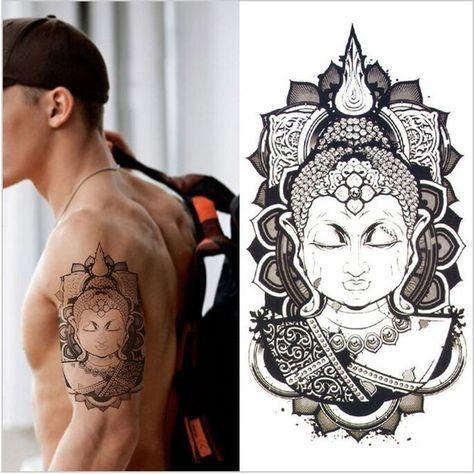 Arm Tatoo 3d Men Buddha Tattoos Design Waterproof Temporary Tattoo