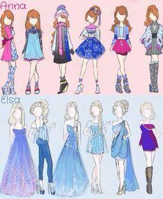 Anna y Elsa moda moderna
