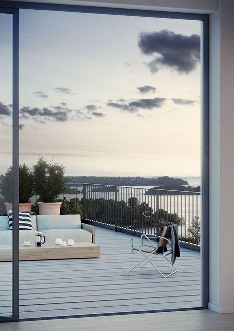 #oscarproperties Oscar Properties, Stockholm, interior, design, windows, stockholm, sweden, sea view, view, balcony, sofa, sky