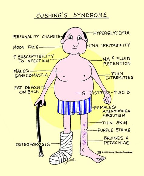 Nursing NCLEX help: Cushing's Disease.  Teach: Diet should be low carbohydrate, low sodium, and high protein. Monitor BP, risk for injury.